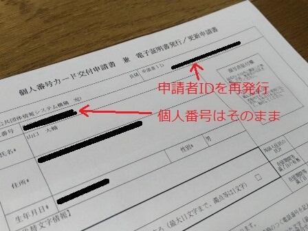 マイナンバーカードの再発行申請書
