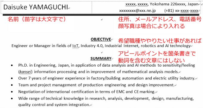 英文履歴書の冒頭部分