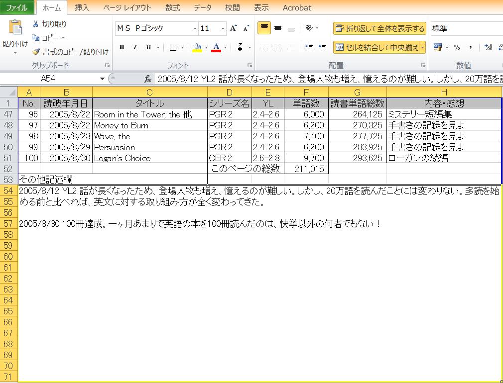 多読記録シートの記入例