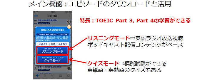TOEIC公式アプリのメイン機能