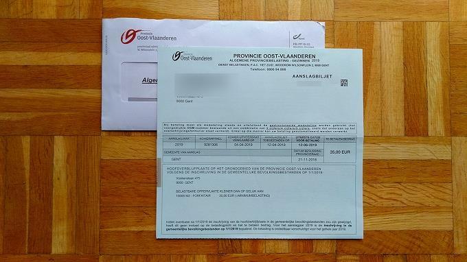 コミューンではなく東フランダース州の封筒で請求される税金