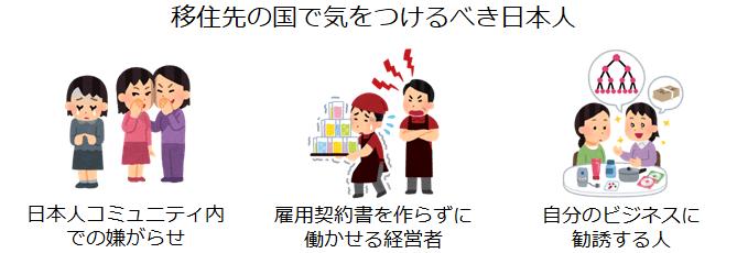 移住先の国で気をつけるべき日本人