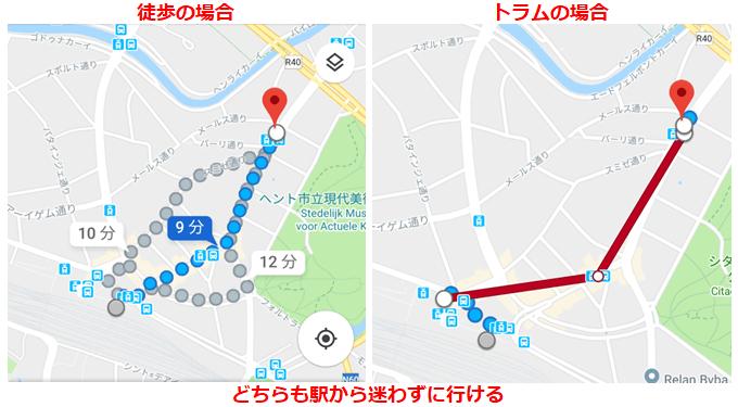 徒歩とトラムによる店舗までのルート