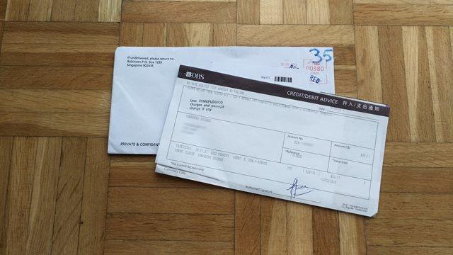 シンガポールからベルギーに届いた小切手の封筒