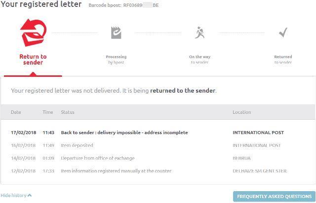 bpostでシンガポールに送る郵便を追跡した結果