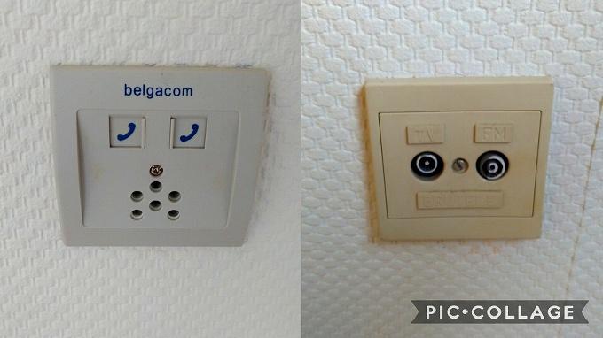 ベルギー住居内の電話・テレビの接続口