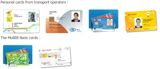 各社が発行するMoBIBカードのサンプル