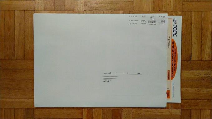 郵送されたスコアレポートの封筒