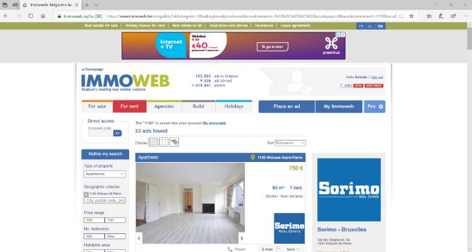 Immowebでブリュッセルの賃貸物件を検索