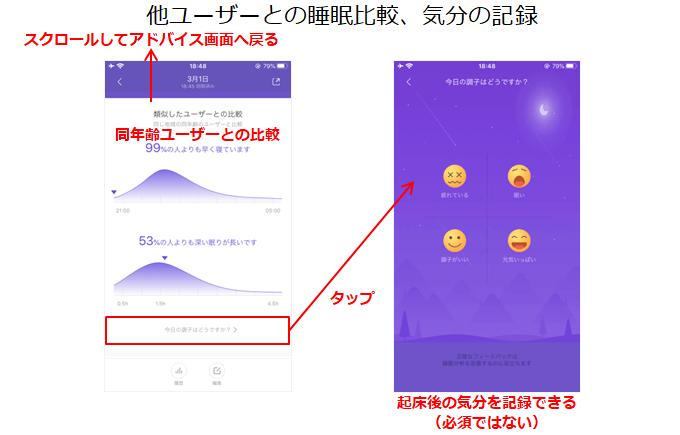 自分の睡眠データを他ユーザーと比較