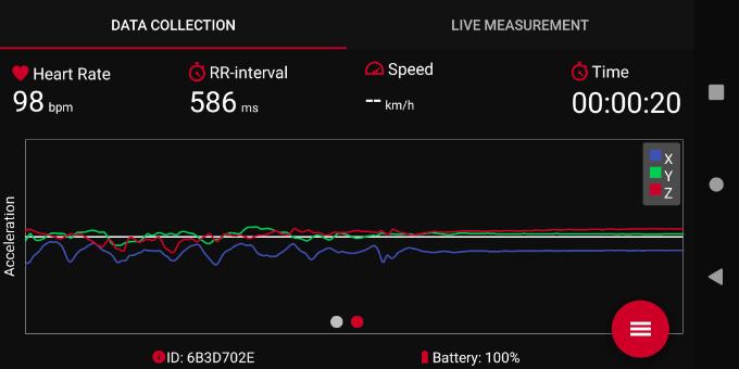 加速度センサーのリアルタイム波形