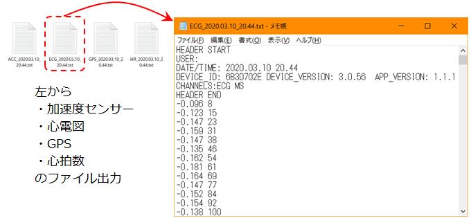 Polar Equineで共有された計測データの内部テキスト