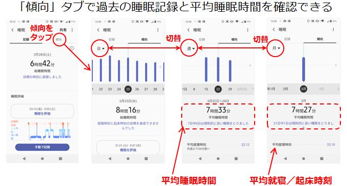 Samsung Healthアプリ睡眠履歴画面