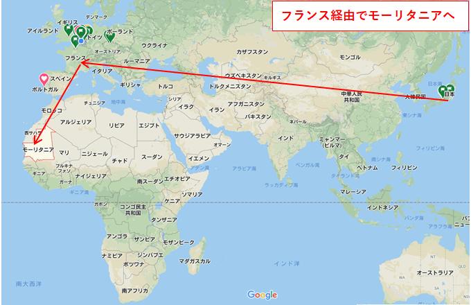 日本からモーリタニアへの飛行ルート