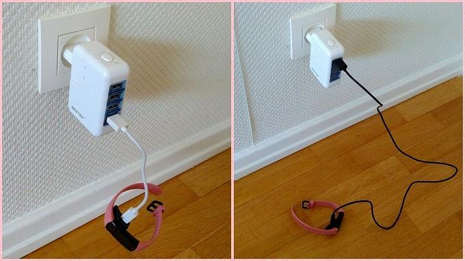 Honor Band 5付属ケーブルと市販の micro USBケーブル