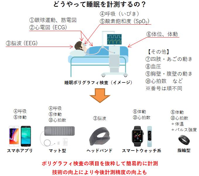 睡眠ポリグラフィ装置と市販ガジェットの睡眠データ計測方法の違い