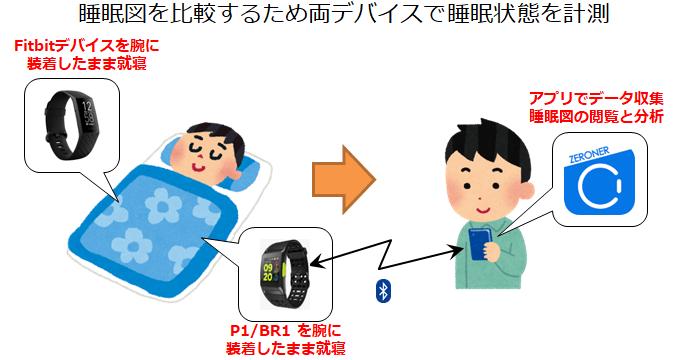 P1/BR1とFitbitをそれぞれの腕につけて睡眠データを計測