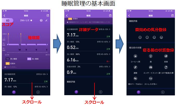 Zeroner Health Proアプリの睡眠管理画面