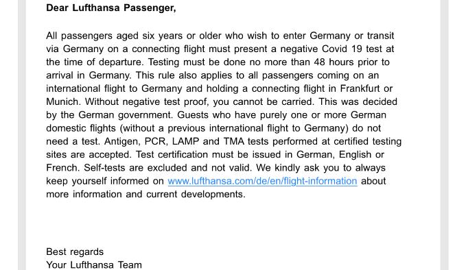 ルフトハンザ航空によるPCR検査陰性証明書の要求事項