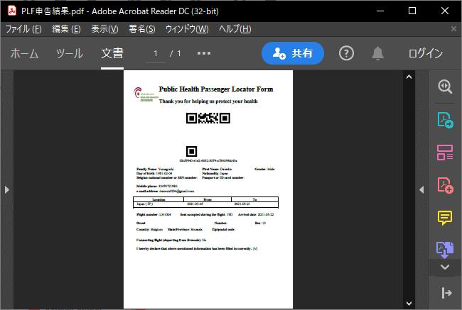 Passenger Locator Form記入結果のPDF