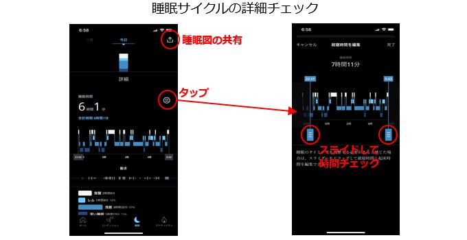 アプリで睡眠ステージをチェック